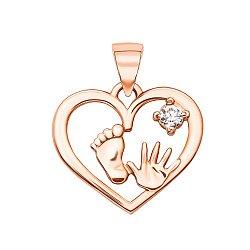 Кулон-сердце из красного золота с фианитом, ножкой и ладошкой 000125394
