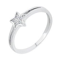 Серебряное кольцо со звездой и фианитами 000116485