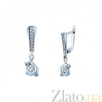 Серебряные серьги с фианитами Блэр 000027093