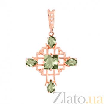 Золотой крестик с зелеными аметистами и фианитами Процветание VLN--114-439-5