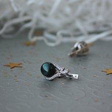 Серебряные серьги Жаклин с черным жемчугом и цирконием