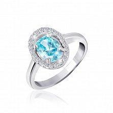 Серебряное кольцо Матильда с голубым и белыми фианитами