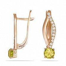 Золотые серьги Desire с цитрином и фианитами