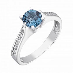Серебряное кольцо с топазом свисс и фианитами 000139802