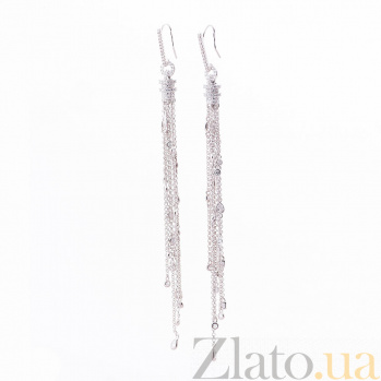 Серебряные серьги-подвески Виорика с фианитами 000080189