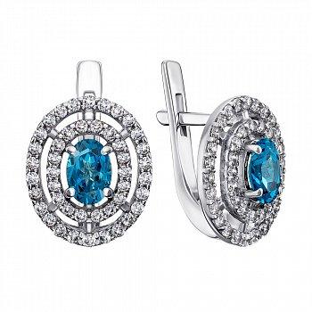Серебряные серьги с лондон топазами и фианитами 000133131
