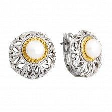 Серебряные серьги с жемчугом Камила