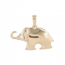 Золотой кулон Слоник с белым фианитом