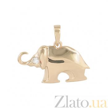 Золотой подвес с цирконием Слоник 2П108-0002