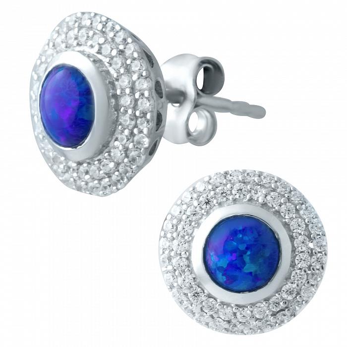 Серебряные серьги-пуссеты Шанти с опалом и фианитами 000078002