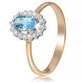 Золотое кольцо с топазом и фианитами Марша