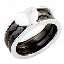 Серебряное кольцо Валентина с черной керамикой и цирконием