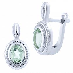 Серебряные серьги Марисоль с зелеными аметистами