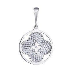 Серебряный кулон Знак отличия с цирконием в стиле Луи Виттон