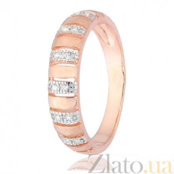 Серебряное кольцо с позолотой и цирконием Ника 000028385
