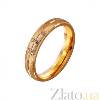 Золотое обручальное кольцо Ты моя жизнь с фианитами TRF--4121145