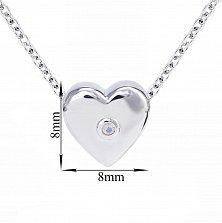 Серебряное колье Сердце малое объёмное с синтезированным нежно-розовым опалом, 8x8мм