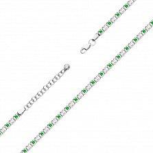 Серебряный браслет Дженифер с зелеными и белыми фианитами