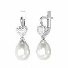 Серебряные серьги-подвески Зоряна с белым жемчугом и фианитами