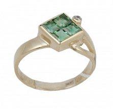 Золотое кольцо Жозефа с синтезированным изумрудом и фианитом