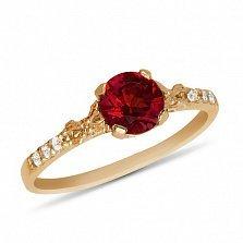 Золотое кольцо Леди Годива с рубином и дорожками фианитов