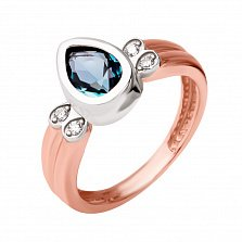 Золотое кольцо Сигурни в комбинированном цвете с нанокристаллом и фианитами
