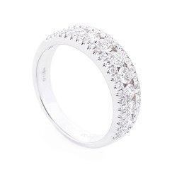 Золотое кольцо в белом цвете с дорожками бриллиантов 000116501