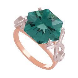 Золотое кольцо Октагон с синтезированным аметистом и фианитами 000018479