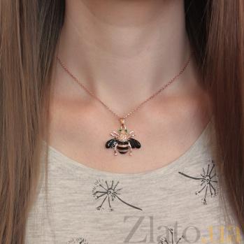 Серебряная позолоченная подвеска Пчёлка с цирконием и эмалью 000080048