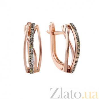 Золотые серьги с коньячными бриллиантами Барбара KBL--С2472/крас/кч.брил