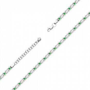 Серебряный браслет с зелеными и белыми фианитами 000121334