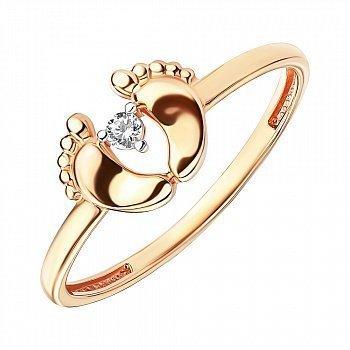 Кольцо из красного золота с фианитом и родированными крапанами 000141367