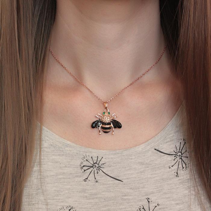 Серебряная позолоченная подвеска Пчелка с цирконием и эмалью 000080048