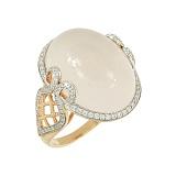 Золотое кольцо с розовым кварцем и бриллиантами Кайли