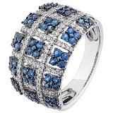 Золотое кольцо Геометрис с сапфирами и бриллиантами
