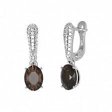 Серебряные серьги Бриджит с раухтопазом и фианитами