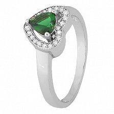 Серебряное кольцо Mon Amour с зеленым фианитом