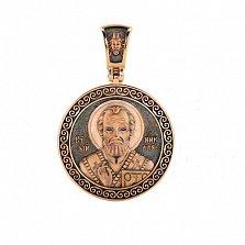 Ладанка из красного золота Святой Николай