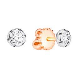 Серьги-пуссеты в комбинированном цвете золота с бриллиантами 000132222