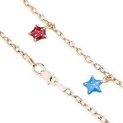 Золотой браслет на ногу с цветной эмалью Морские звезды  000020753