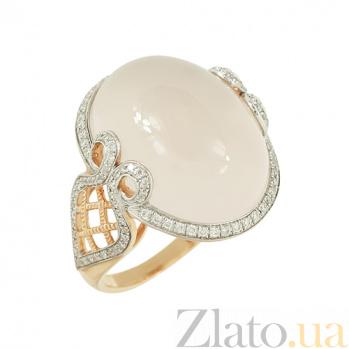 Золотое кольцо с розовым кварцем и бриллиантами Кайли 000026930