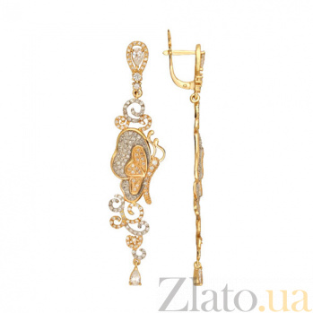Серьги из желтого золота с фианитами Джульетта VLT--ТТТ2489