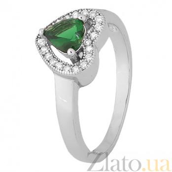 Серебряное кольцо Mon Amour с зеленым фианитом 000028321