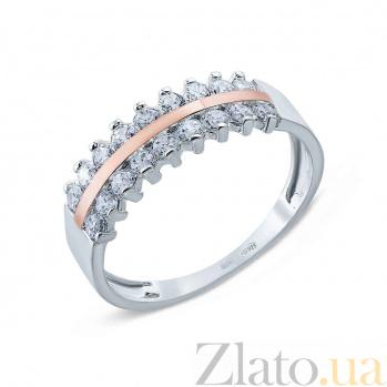 Кольцо серебряное с золотой вставкой и фианитами Лунная дорожка AQA--Г0207К