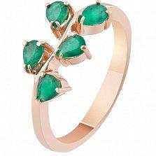 Золотое кольцо с изумрудами Лесная фея