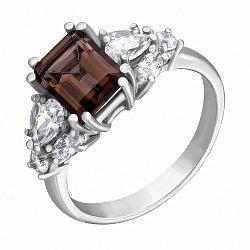 Серебряное кольцо с раухтопазом и фианитами 000124563