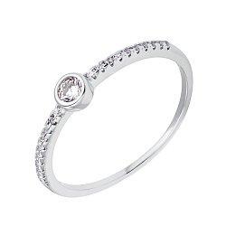 Серебряное кольцо Астори с дорожкой и завальцованным фианитом по центру