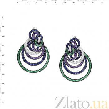 Серебряные серьги-подвески Анхелика с фиолетовыми, зелеными и белыми фианитами 000081903