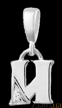 Серебряный подвес с кристаллом циркония Буква И 000025304