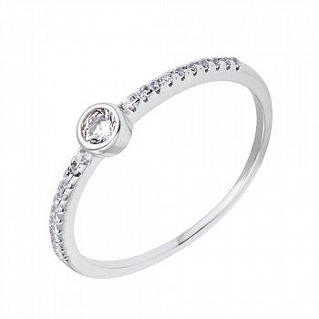 Серебряное кольцо с дорожкой и завальцованным цирконием 000116338